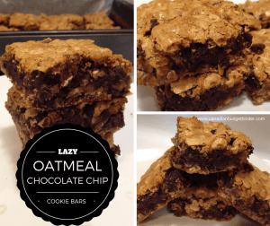 Lazy Oatmeal Chocolate Chip Cookie Bars
