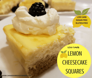 Low Carb Lemon Cheesecake Squares (Sugar-Free, Gluten-Free)