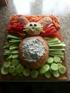 easter appetizers vegetables and dip easter bunny