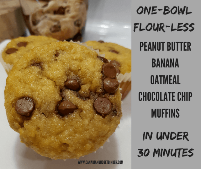 ONE-BOWL FLOUR-LESS PEANUT BUTTER BANANA OATMEAL CHOCOLATE CHIP MUFFINS FB