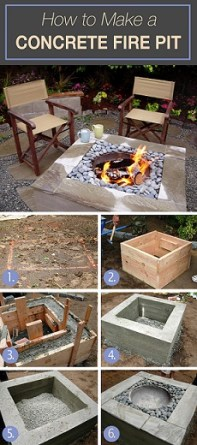 firepit diy ideas concrete fire pit