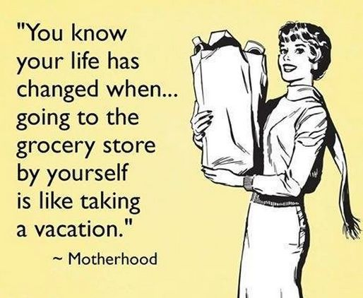 grocery shopping alone motherhood