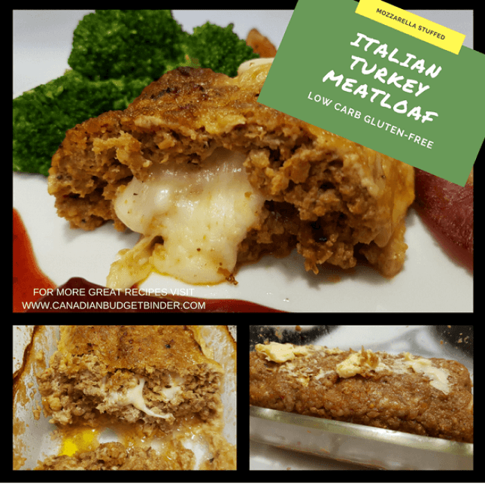LOW CARB MOZZARELLA STUFFED ITALIAN TURKEY MEATLOAF STEPS