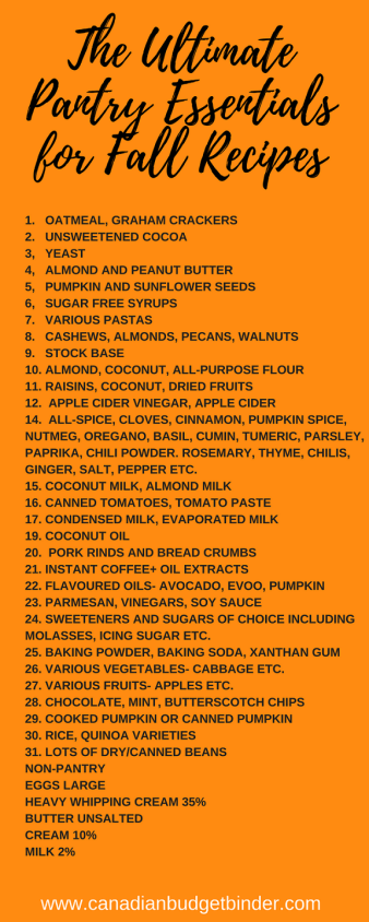 THE ULTIMATE PANTRY LIST FOR FALL RECIPES -CBB