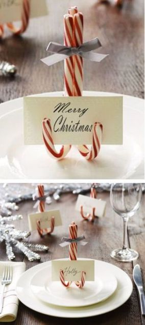 merry christmas candy cane table name tag