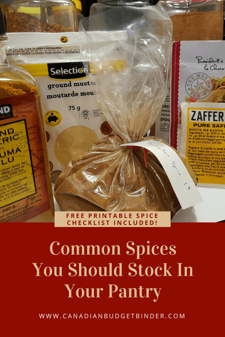 Free Printable Checklist Of Common Spices For Your Kitchen : The Grocery Game Challenge 2018 #3 Mar 19-25