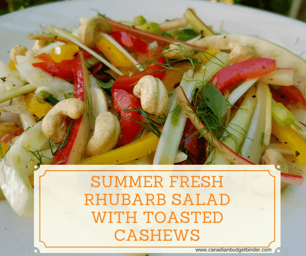 rhubarb salad with toasted cashews