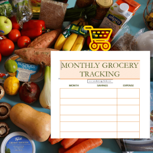 monthly grocery tracking budget binder printable sheet