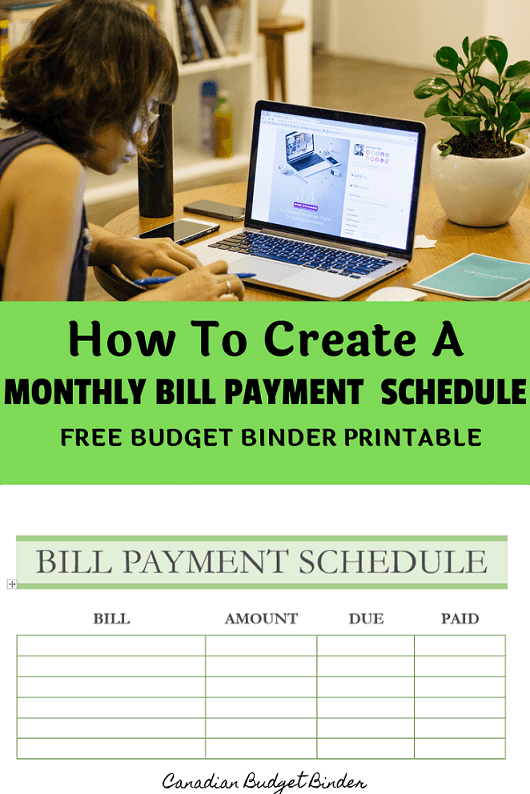 How To Create A Monthly Bill Payment Schedule (Free Printable) : Sept 2019 Budget Update - Canadian Budget Binder