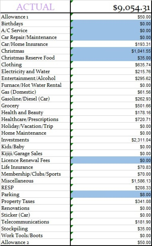 December 2019 Actual Monthly Budget