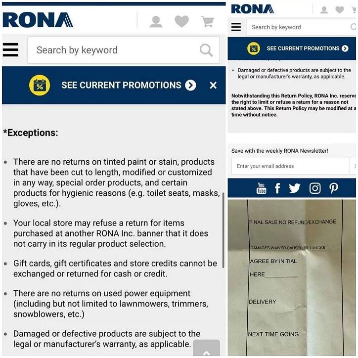 Rona Refund Policy