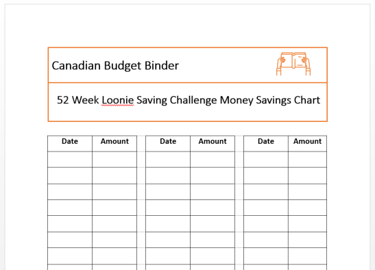 loonie savings challenge