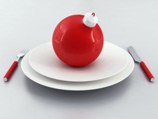 christmas ball on a plate