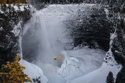 Helicopter at Helmcken Falls, Wells Gray National Park, BC. Photo by Viktoria Haack Photography.