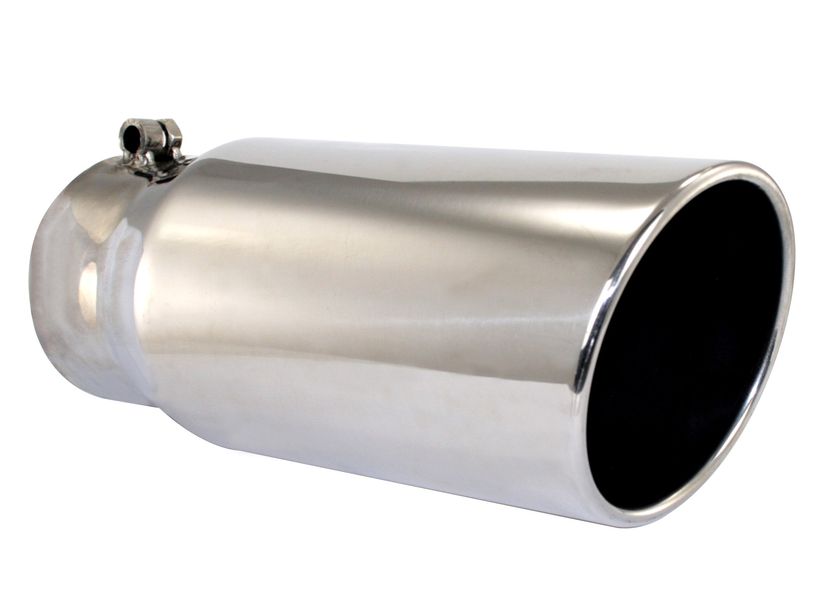 exhaust tail pipe tip mach force xp 4 inch inlet diameter 5 inch outlet diameter stainless steel round slant cut rolled edge 12 inch length