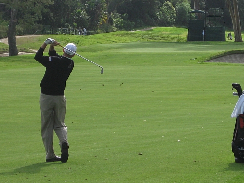 Bill Haas hits into a hole on the back nine of Riviera Country Club yesterday in LA.