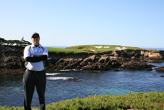 Standing in the shadown of giants: In front of the 16th hole at Cypress Point, perhaps the most famous one-shot hole in the world.