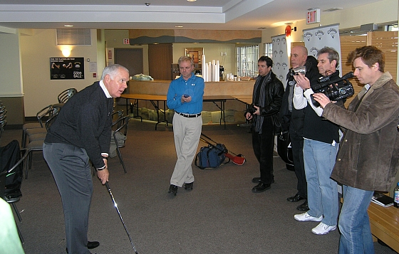 Tips for hacks: Roger Cleveland shows a bunch of Toronto golf writers how to hit a wedge shot. We all need it -- trust me.