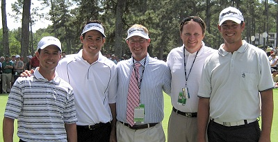 Stack and Tilt in Happier Times: Former students Mike Weir and Aaron Baddeley, pictured with Dean Wilson, Mike Plummer and Andy Bennett