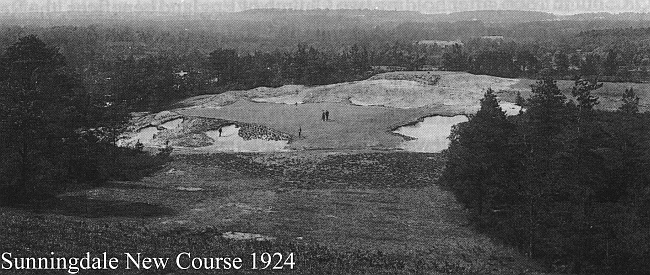 Colt's original bunkers at Sunningdale New in 1924. Much more intriguing than the grassed down look Hawtree is using at TGC.