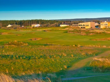 Looking out over the par-4 5th hole with 18th green and clubhouse in the background.