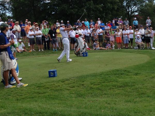 Mike Weir hits into the 7th hole at Glen Abbey during the Canadian Open.