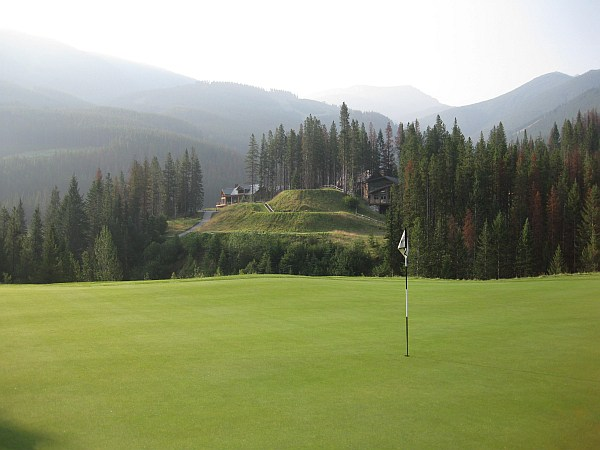 Cliffhanger indeed: Looking from the green back to the tee at this incredible creation by Doug Carrick.