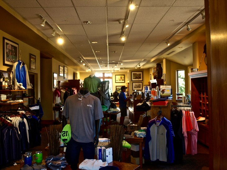 The well stocked pro shop at Prospector Golf Course.