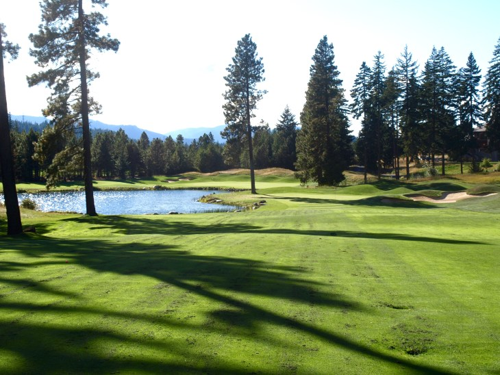 A great Par 5 finishing hole with a lake forcing a focused approach shot.