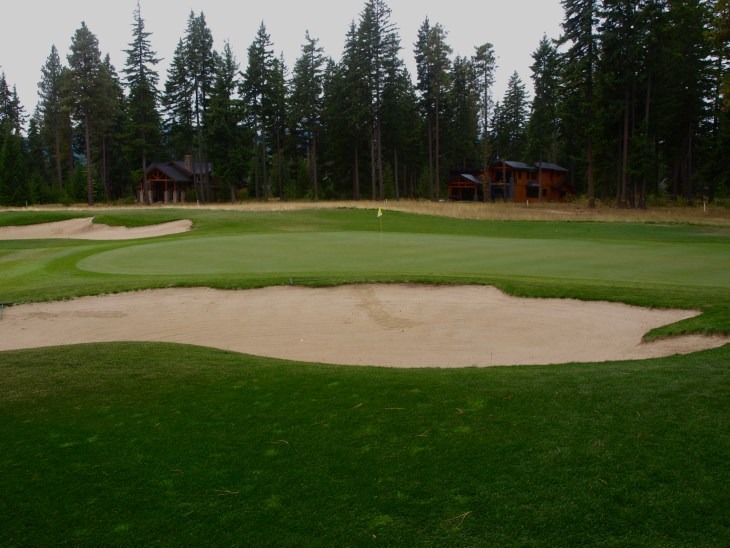 A side view of the 5th green, notice the large but playable bunkers.