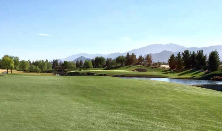 View from the 11th fairway to the elevated green