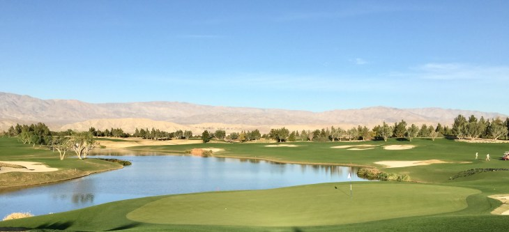 Looking back across the water from the back of the 18th green.