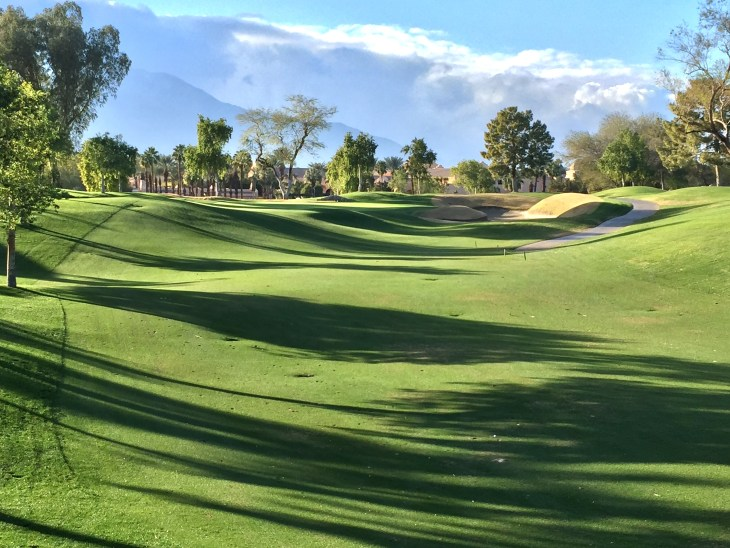 The gorgeous elevated green of the 9th green
