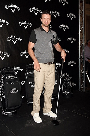 Show Us Your Set Up!: Justin Timberlake poses with Callaway's new FT-iQ driver at an event in New York on Friday.