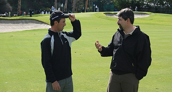 """""""So Mike, let me tell you how I play this hole..."""": Golf designer Ian Andrew talks with partner Mike Weir"""