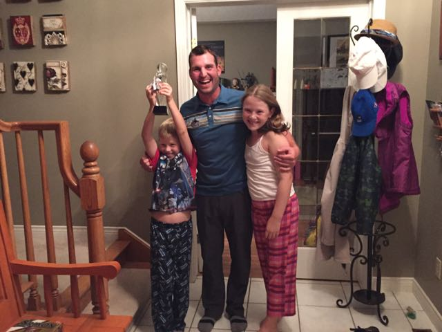 """Will Ryan be coming next year?"" My kids embrace their champion golfer after the final round in London."