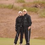Canadian Golf Traveller Publisher Sharon McAuley and Editor Brian Kendall finishing their round at Castle Stuart Golf Links, Scotland