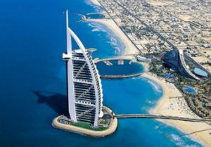 The landmark Burj Al Arab Hotel, Dubai (Image: definitelydubai.com)