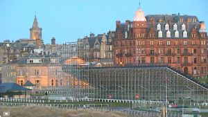 A webcam view of the first hole of The Old Course, where the grandstands are being built for this summer's Open Championship. (Image: St Andrews webcam)
