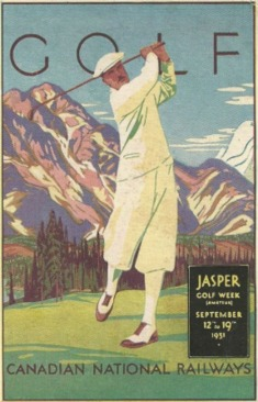 A vintage poster for Golf Week at Jasper Park Lodge in 1931.