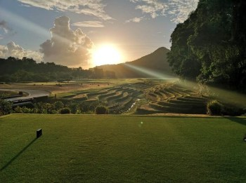 Laguna Lang Co golf course in Vietnam, tee shot over rice paddies. (Image: Laguna Lang Co golf course)