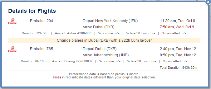 Sample Itinerary with Stopover in DXB
