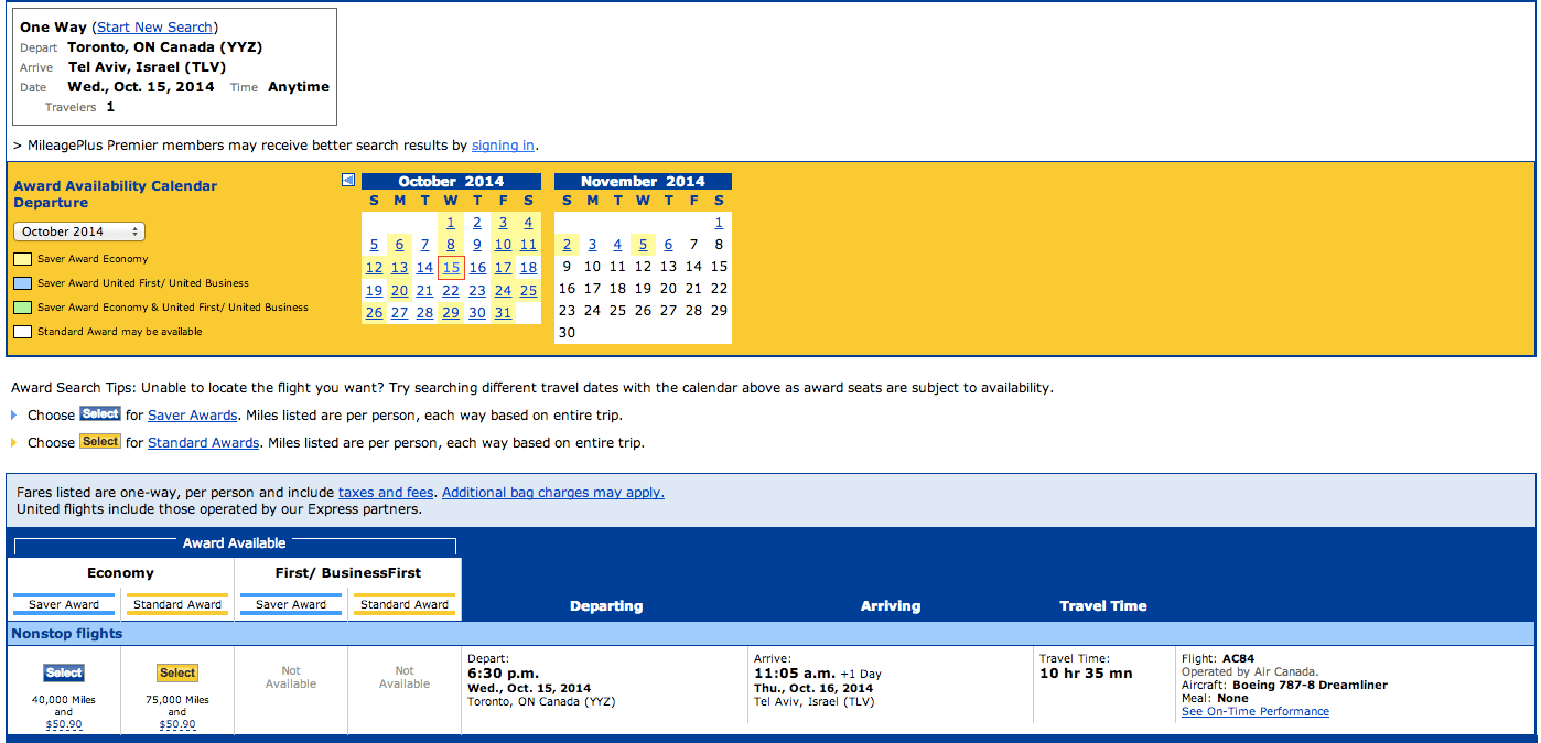 Air Canada 787 Award as on united.com