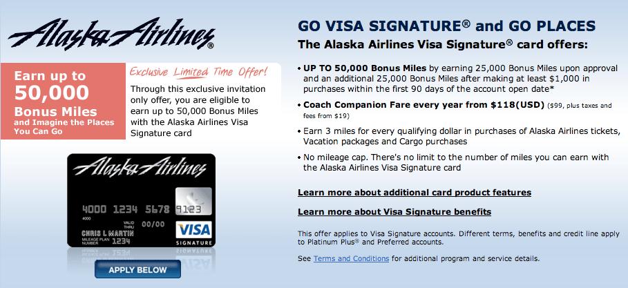 Alaska Airlines 50000 Miles Credit Card Usa Canadian