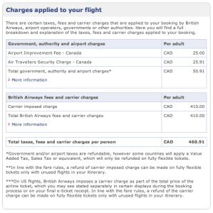 BA Avios Online Award Search Fees Breakdown