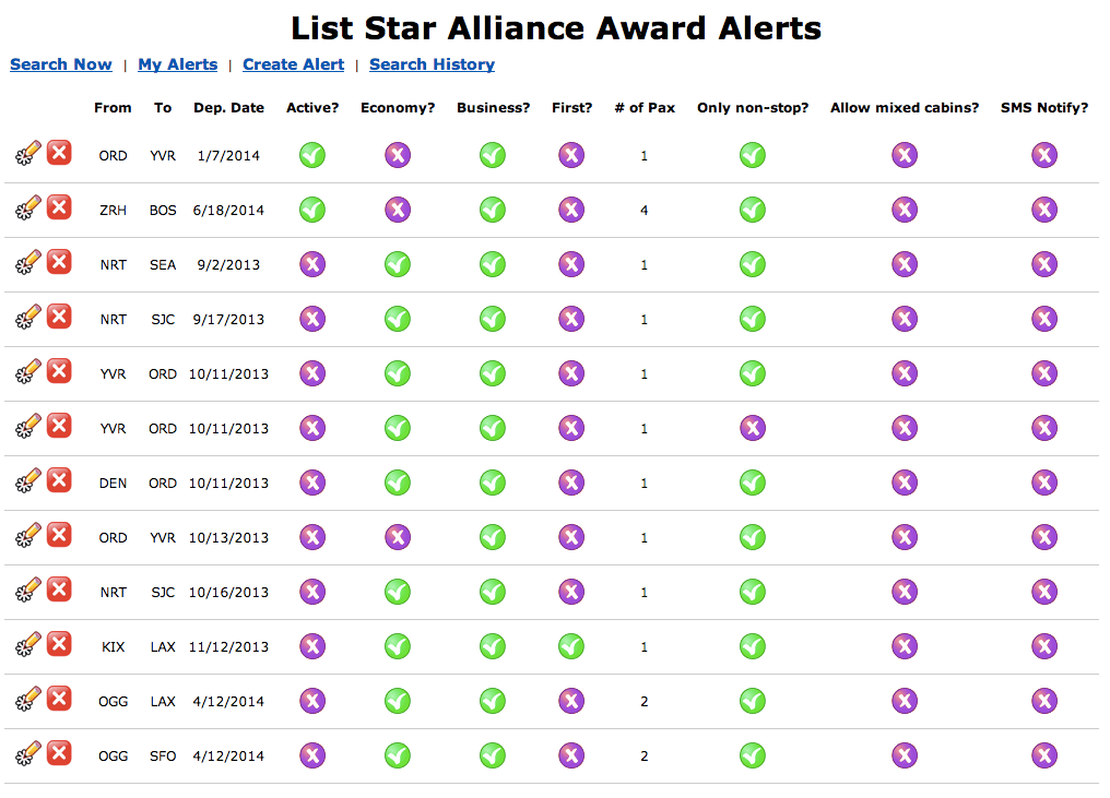 Expertflyer Star Alliance Alerts
