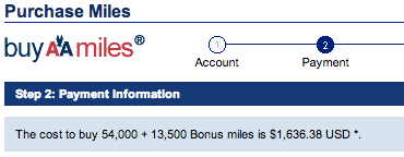 Cost to buy 67500 AA Miles