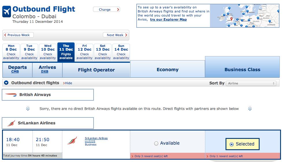 SriLankan Airlines Avios Redemption CMB-DXB