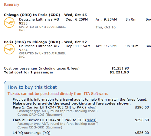 $1250 fare from Chicago to Paris flying United (Lufthansa)