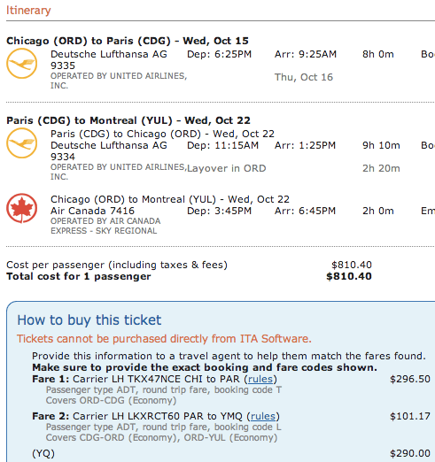 It's a miracle - $800 open jaw for the same flight, but returning to Montreal via Chicago